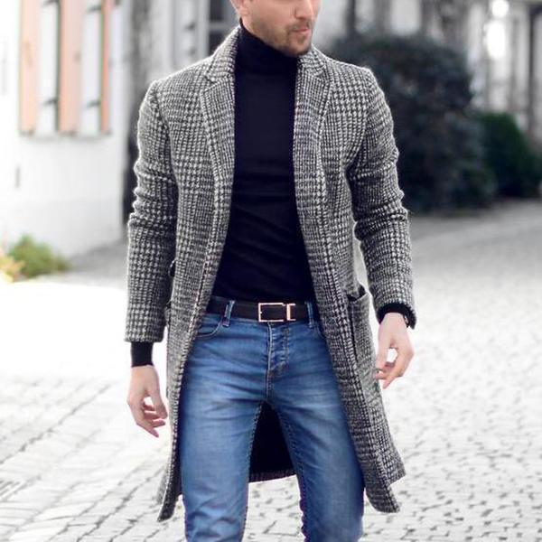 best selling Wool coat men's suit collar jacket Youth retro minimalist long plaid Slim fashion black and white grid Trench coat