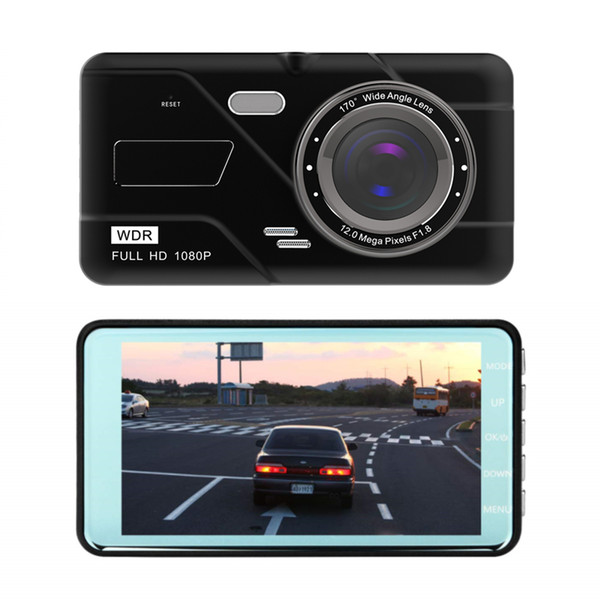 FHD car dash camera driving video camcorder 1080P car DVR 4 inch 2Ch front 170° wide view angle G-sensor motion detection parking monitor