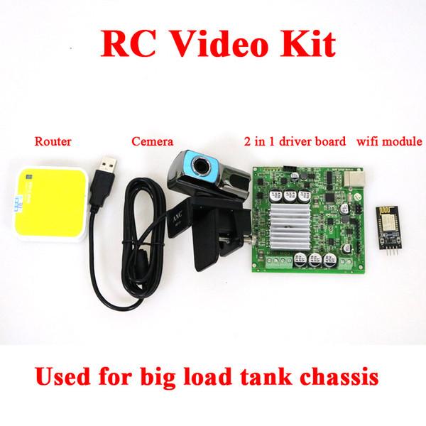 Compre T900 4WD Monitor De Vídeo Chassi Tanque Com Openwrt Router + Câmera  HD De ESP8266 Nodemcu Placa De Desenvolvimento + Driver Board Kit De