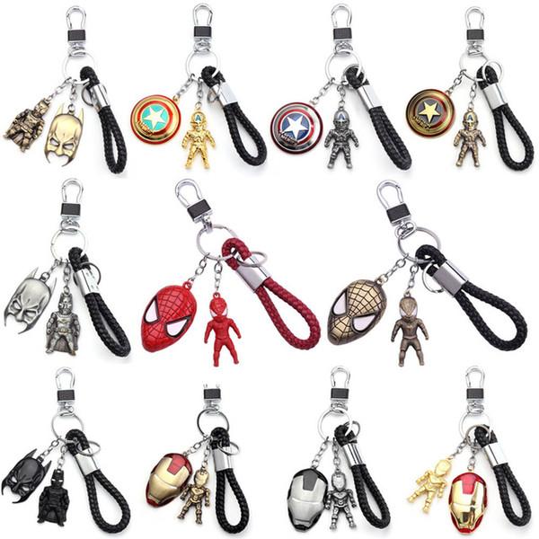 Fans The Avengers Keychains Metal Pendant Iron Man Spiderman Batman Captain America Key Ring For Men Women Movie Jewelry