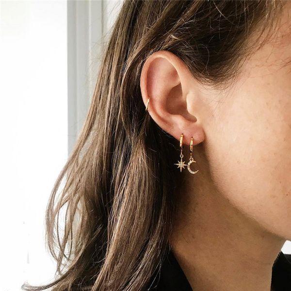 1Pair Simple Cute Zircon Star Moon Hoop Earrings Women Chic Trendy Gold Color Glitter Crystal Pendant Small Earring Jewelry E272