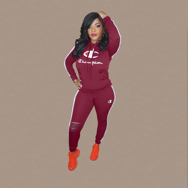 professional delicate colors modern design 2019 Champ Letter 2019 Women Tracksuits Hooded Pullover Hollow Out Long  Sleeve Set Sexy Sports Active Gym Casual Sportswear Girls Clothing 028 From  ...