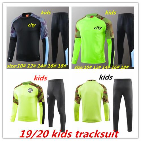 2019 2020 MAHREZ JESUS DE BRUYNE KUN AGUERO KIDS manchester TRACKSUIT Tracksuit city SANE KIDS training suits 19 20 football KIT Top shirt