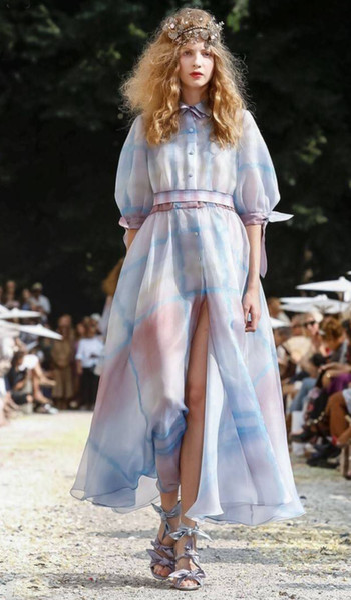 403 2019 Spring Runway Brand Same Style Dress Print Lapel Neck Short Sleeve Empire Wedding Women Clothes Chiffon Silk AS