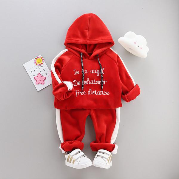 3 couleurs Tout-petit bébé Garçons Filles Vêtements Sweat à capuche + Pantalons enfants Vêtements de sport Vêtements pour enfants Vêtements pour enfants Designer Ensembles 1-4Years