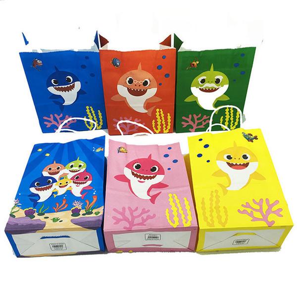 Baby Shark Paper Gift Bag Cartoon Shark Marine Theme Birthday Baby Shower Gift Bag Party Decoration Supplies