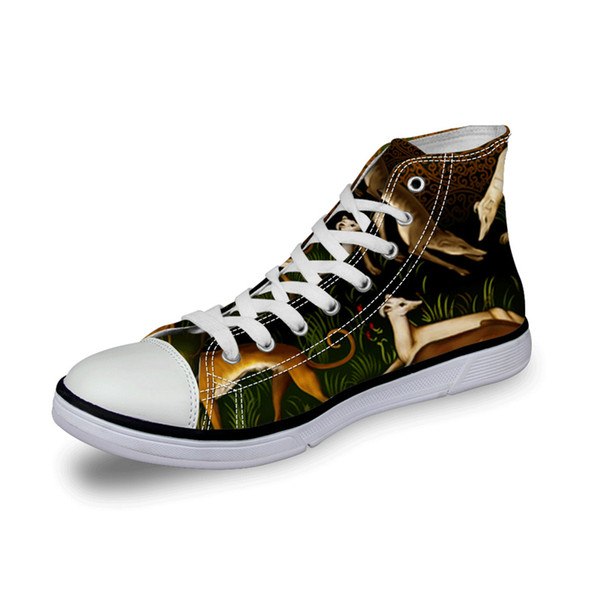 New Design Zapatos Summer Canvas greyhound dog print High Top Shoes women high top printed canvas shoes women Vulcanize