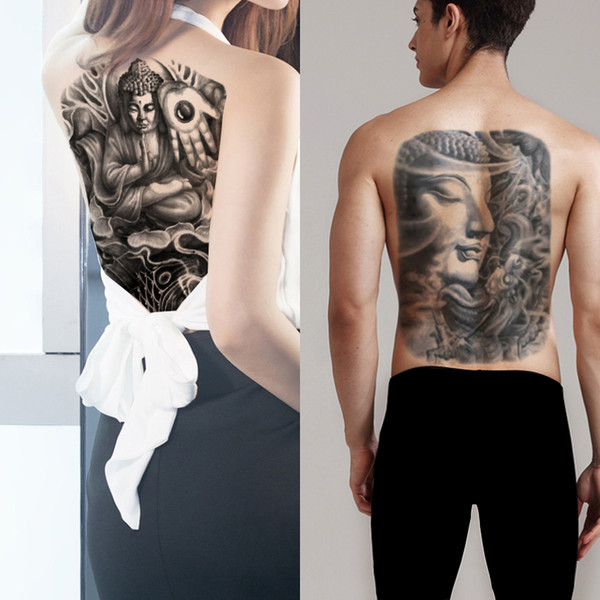 Realistic Buddha Large Temporary Fake Cool Full Back Design Body Art Tattoo Sticker Palm Fish Dragon Decal Water Transfer Tattoo Paper Adult