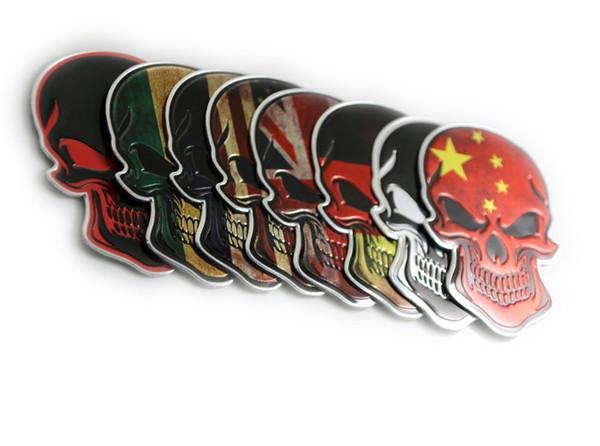 Hohe qualität NEUE 10 stücke Chrome Motorrad Auto Tank Emblem Abzeichen Aufkleber Metall Aufkleber 3D Schädel Knochen Teufel auto styling
