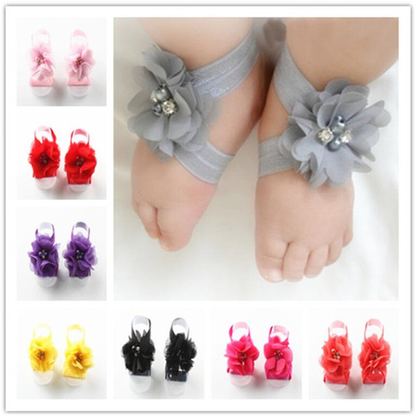 Toddler Baby Chiffon Water Drill Flower Foot Belt Set Sandals Flower Shoes Barefoot Foot Infant First Walker Shoes Photography Props A32003