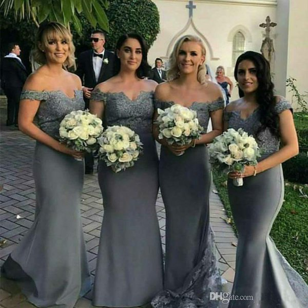 cd12d6d366f 2019 Grey Long Bridesmaid Dresses With Lace Off Shoulder Cap Sleeves  Mermaid Wedding Party Dress Maid of Honor Gowns Custom Made