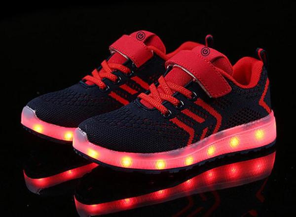 Yeni 25-37 USB Şarj Parlayan Sneakers Led Çocuk Aydınlatma Ayakkabı Erkek / Kız ışıklı Aydınlık Sneaker