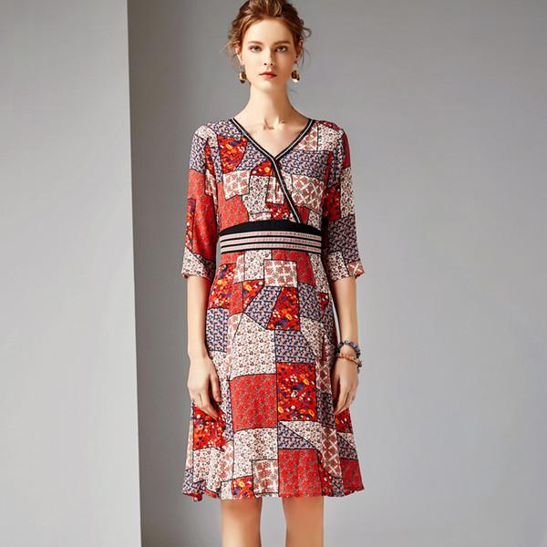 2019 Femmes 100% Soie Piste Robes V Cou Manches 3/4 Imprimé Floral High Street Robes Décontractées