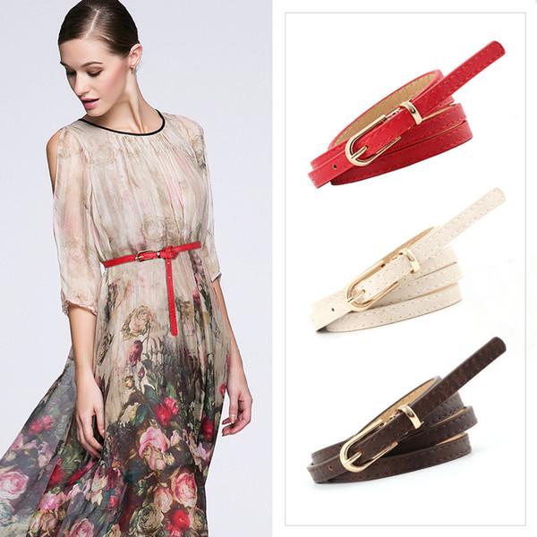 2018 Mode Noir Blanc Rouge PU En Cuir En Métal Boucle Ceinture Femmes Femme mince ceinture pour Robe Jeans Ceinture Ceintures