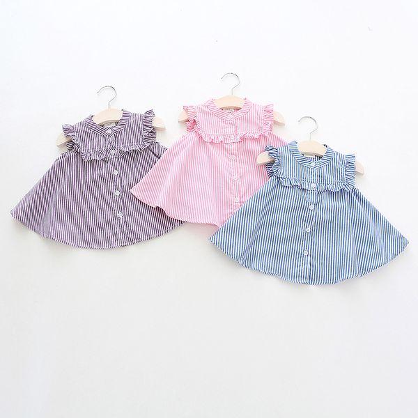 kids designer clothes girls shirt summer Girls flying Sleeveless Stripped Print Shirt baby kids round collar 100% cotton shirt 3 colors