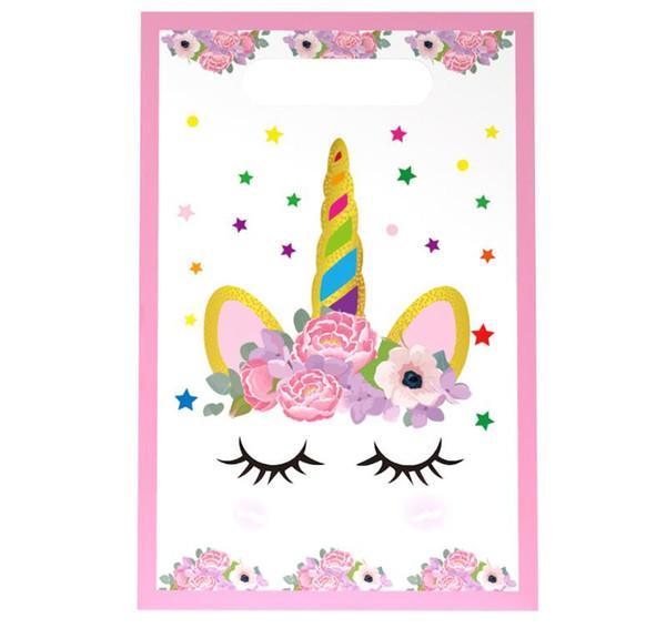 10 pz / lotto unicorno rosa tema festa borsa regalo decorazione del partito sacchetto di caramelle di plastica bottino per bambini forniture di festival