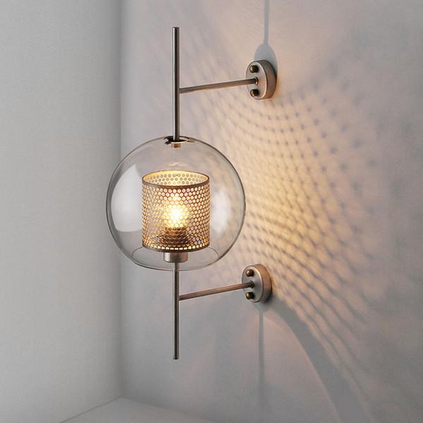 Endüstriyel tarzı oturma odası duvar lambası koridor merdiven yatak odası için yaratıcı çatı duvar ışık Retro 20cm 25cm şeffaf cam gölge