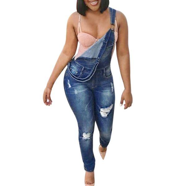 Jeans Jumpsuit empalmado delgado lápiz Denim Femme Agujeros Pantalones Mujer Casual Señoras Pantalones Mujer Jeans Vaqueros # YL1
