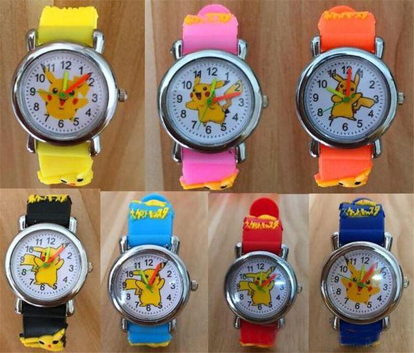 3D Cartoon Pikachu Watch Boys Girls Soft Silicone Quartz Watches Students Cartoon Anime Digimon Watch Wristwatches For Kids gifts hot