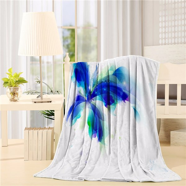 Huge Butterfly Ombre Modern Cool Design with Dots and Leaves Image Flannel Throw Blanket Lightweight Cozy Bed Sofa Blankets Supe