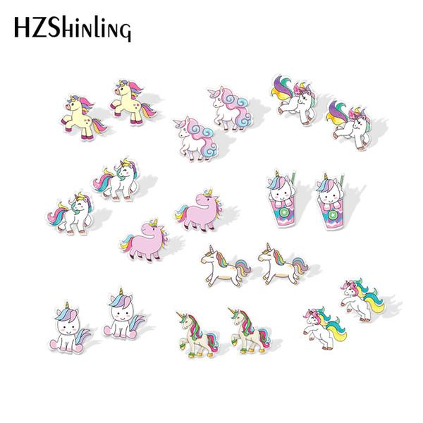 2019 Orecchini in argento orecchino acrilico NewCute Unicorn baby unicorno resina epossidica orecchino di arte