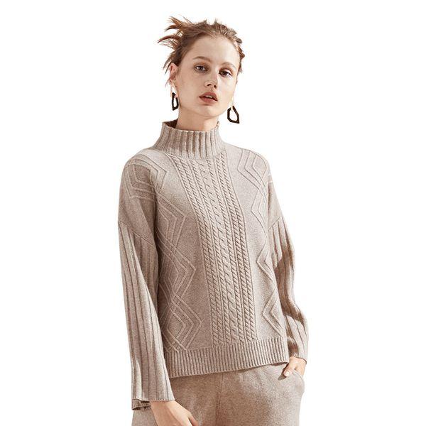New knitting sweater 2018 autumn and winter Euramerica turtleneck twist striped cashmere sweater women winter