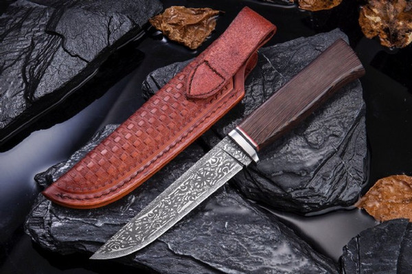 Mantis M2 5.3 pulgadas VG10 + damasco táctico cuchillo recto cuchilla fija camping cuchillos de caza regalo de Navidad para hombre a2801