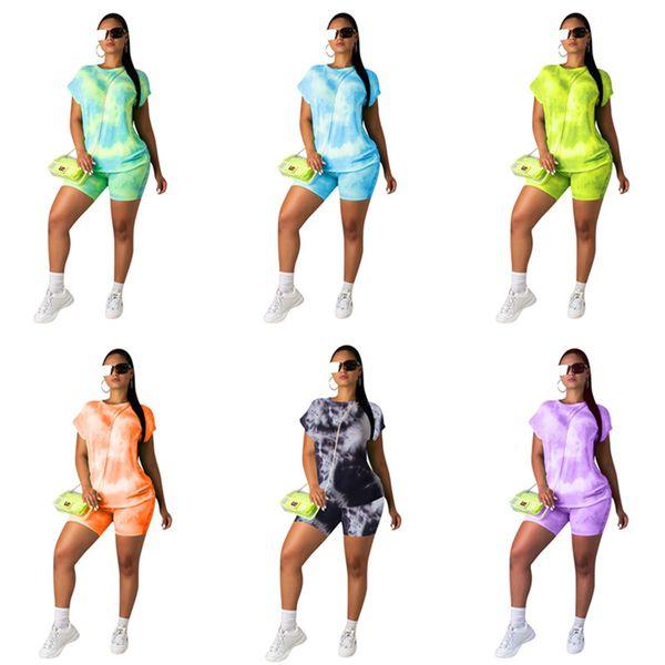 Summer Women Shorts Traksuit Short Sleeve T Shirt Tops + Shorts 2 Piece Set Contrast Color T-shirt Outfits Casual Designer Suit Clothing