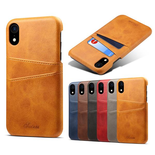 Funda de cuero conveniente de la PU del caso del pedazo de la tarjeta del cuero de la PU Cubierta resistente de la gota para iphone x xs xs max xr 6 7 8