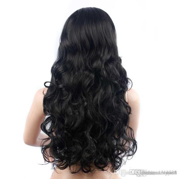 Pelo negro largo y rizado Big Bangs oblicuos ondulados Peluca mullida Sombreros Pelucas delanteras para el cabello para mujeres Pelucas delanteras para el cabello Bob