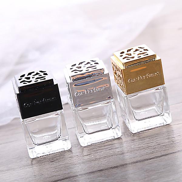 Mini botella de vidrio grueso Botellas de perfume transparentes vacías del coche Respiraderos del coche Botella de empaquetado de vidrio Oro Negro Plata para la opción Libre DHL 472
