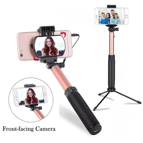 Мини-телефон Selfie Stick Штатив с задним зеркалом Выдвижная подставка для монопод Проводной Bluetooth Control Remote Shutter для iPhone 6s iOS Android