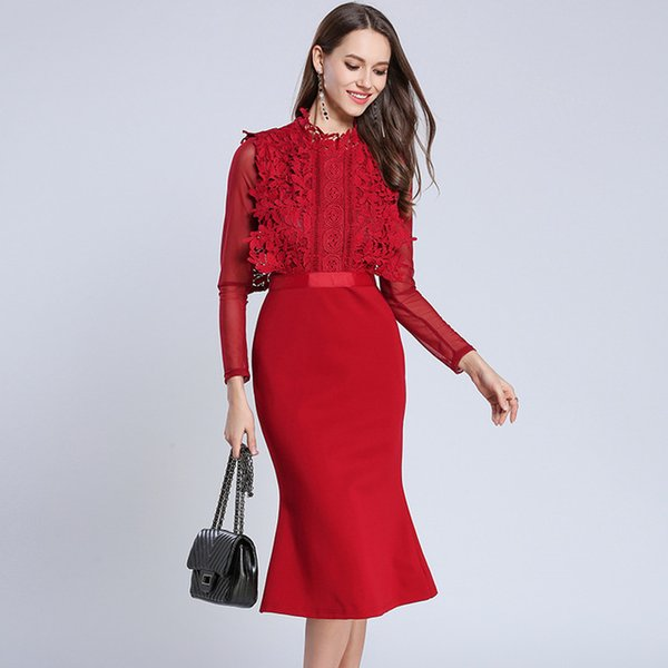 2019 New Runway Vintage Water Soluble Flower Embroidery Dress Lace Patchwork Elegant Slim Women Dress A-Line Hollow Out Dresses