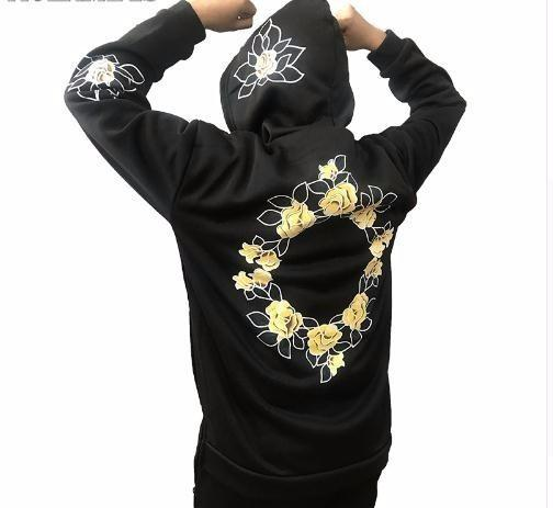 2019 Hoodies Men Simple Print Floral Hooded Pullover High Street Fashion Cotton Hip Hop Streetwear O-neck Hoodie Autumn