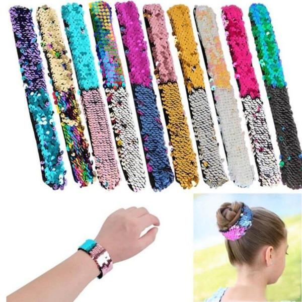 Venda quente mulheres lantejoulas pulseira Glitter Slap Sereia paillette Pulseiras Encantos Pulseira para Crianças de alta qualidade