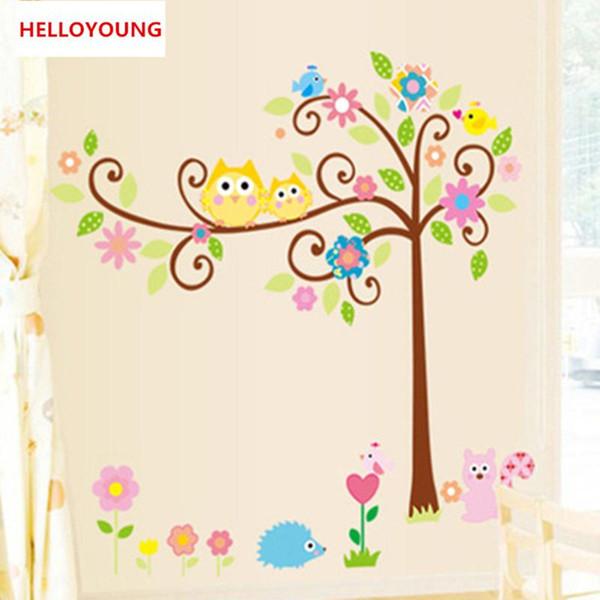 DIY Wall Sticker Owl Scroll Tree Wallpapers Art Mural Waterproof Kids Nursery Wall Stickers Home Decor Removable