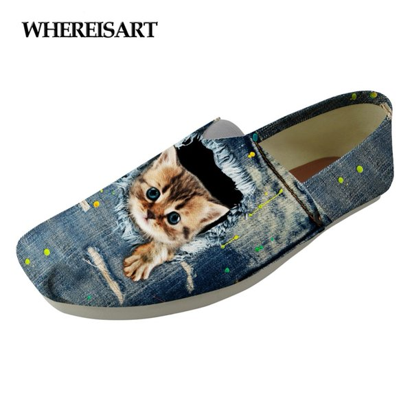 WHEREISART Mode Toile Mocassins Chaussures Femmes Mignon Denim Animal Chat Imprimer Slip Sur Chaussures Chaussures Femme Respirant Pêcheur