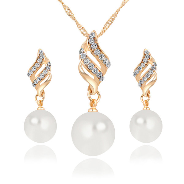 Bridal Jewelry Set Simulated Pearl Necklace Rhinestones Chamrs Earrings Set Spiral Jewelery Set For Lady Girl Choker