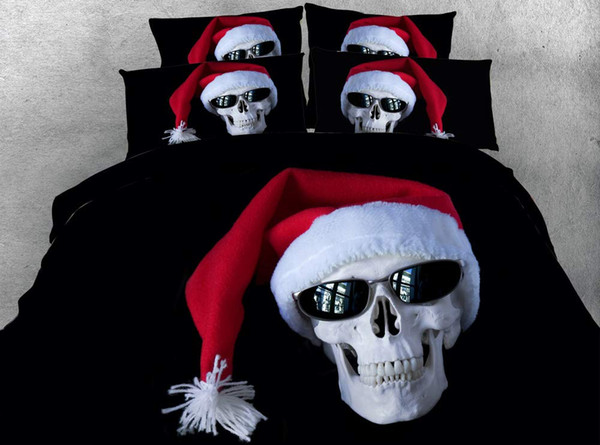 Black Bedspreads Red Skeleton Duvet Cover Set 3 Piece Bedding Set With 2 Pillow Shams Christmas Skull Comforter Cover Boys Bed Set