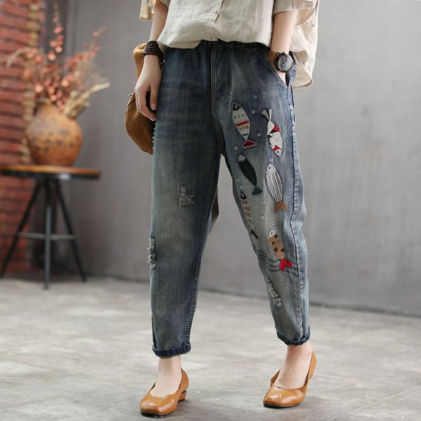autumn new arts style women ripped jeans fish embroidery vintage jeans elastic waist cotton denim loose harem pants d494, Blue