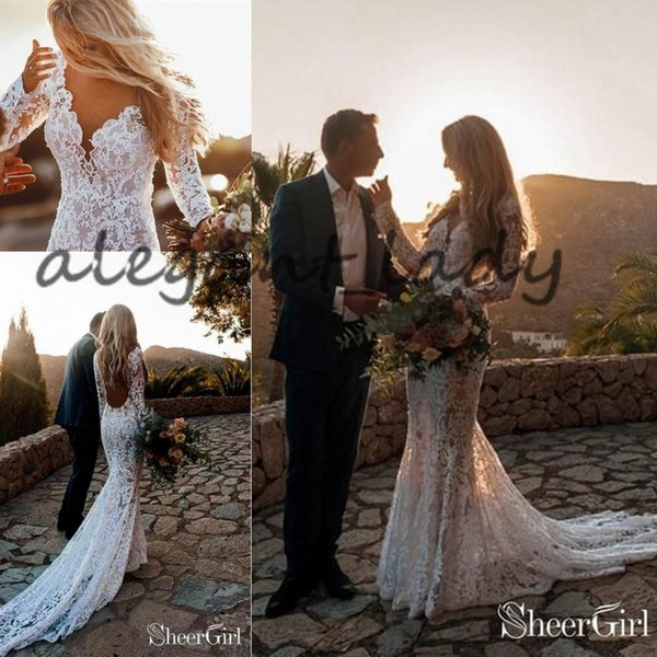 ef5c27b025f Beach Mermaid Backless Wedding Dresses with Long Sleeve 2019 Sexy Full Lace  Applique V-neck