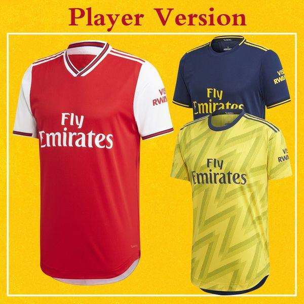Navy Yellow Terceiro azul Maillot De Pé 19 20 Gunners Football Player Versão Artilheiro 2020 Soccer Jersey Início Red Camisa ausente