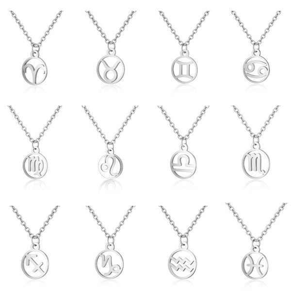12 Zodiac Signs Pendant Necklaces Stainless Steel Constellation Necklaces Women Fashion Choker New Hot Sale