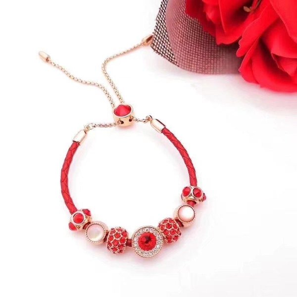 Luxury designer jewelry 925 sterling silver pandora bracelet Lady Designer leather bracelet love bangle With Box