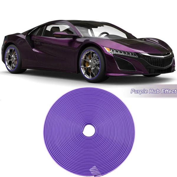 8M Car Wheel Hub Rim Edge Protector Ring Tire Strip Guard Rubber Sticker Purple