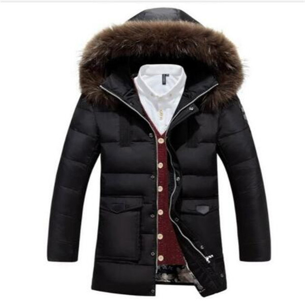 Piumino da uomo Anatra Plus Size Piumino bianco invernale Piumini Xxl Xxxl Cerniera collo naturale Collo in pelliccia naturale Abbigliamento pesante Soprabito