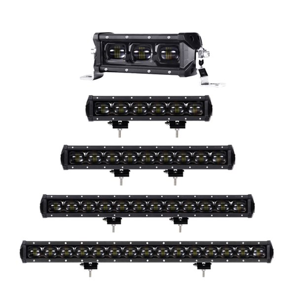 Single Row Lens Led 4x4 Offroad Work Light Bar For Off road 4WD Trucks SUV ATV 12V 24V Trailer Motorcycle Car External Lights