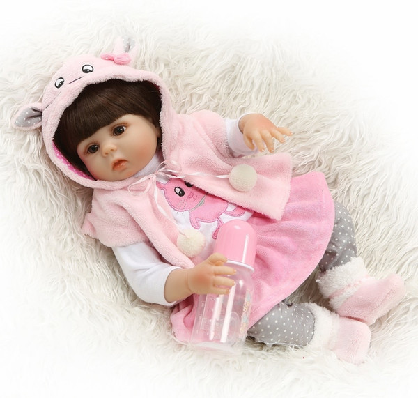 "18/"" Full Body Silicone Reborn Baby Dolls Lifelike Bathing Girl Doll Gifts Toys"