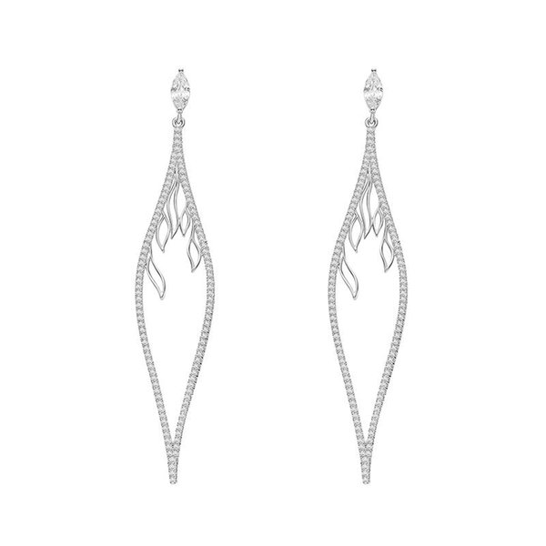 Exquisite And Exquisite Long Style For Women To Create Pendant Earrings Gold And Silver Color Leaf Shape Copper Zzircon Jewelry