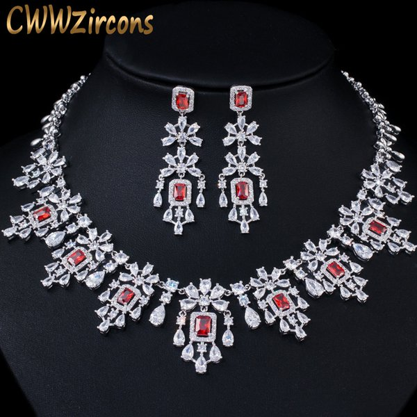 Cubico zircone grandi orecchini collana rossa goccia rotonda CWWZircons Shiny Jewelry Set per le spose Wedding Prom Dress Accessori T361